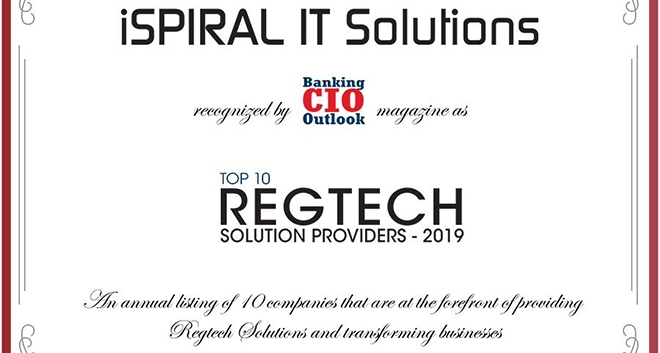 iSPIRAL Ranked in the Top 10 RegTech Providers for 2019